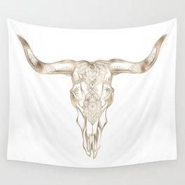 Bull Skull Gold Wall Tapestry