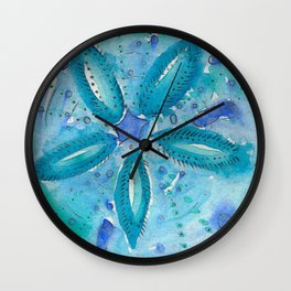 Mermaid's Coin Watercolour abstract Wall Clock