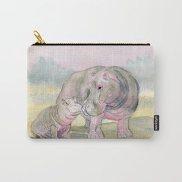 Colorful Mom and Baby Hippo Carry-All Pouch
