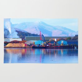 Industrial reflection at mountains edge Rug