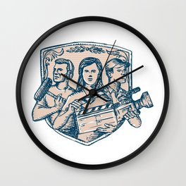 Film Crew Clapperboard Cameraman Soundman Etching Wall Clock