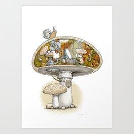 Mushroom Aliens inside the Mushroom Art Print
