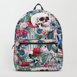 Flowers and Skulls (Pink) Backpack