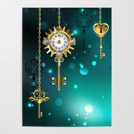 Antique Keys on Green Background ( Steampunk ) Poster