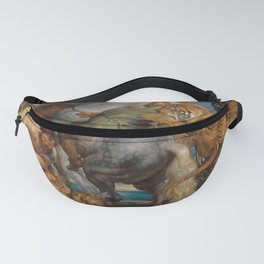Big cats attacking soldiers on horseback Fanny Pack