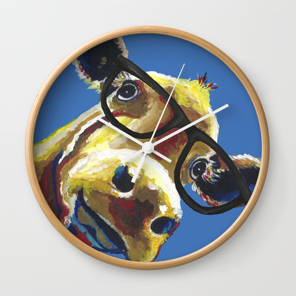 Cute Cow With Glasses, Up Close Glasses Cow Wall Clock by Leekeller CLK8994280