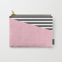 Pink & Gray Stripes Carry-All Pouch