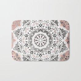 Dreamer Mandala White On Rose Gold Bath Mat