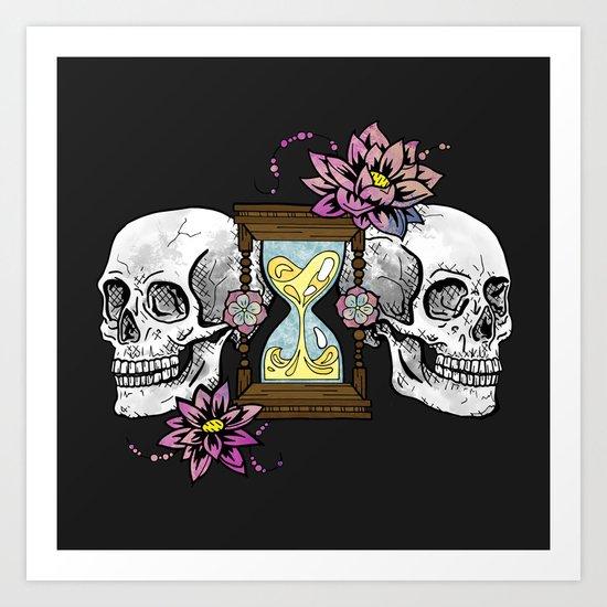 Timeless Love, Hourglass Skulls Illustration Art Print