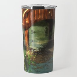 Wooden bridge over lotus pond Travel Mug