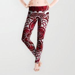 Mandala Red Colorburst Leggings