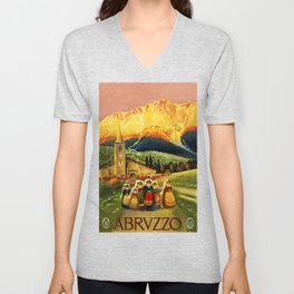 Vintage Abruzzo Italy Travel Unisex V-Neck