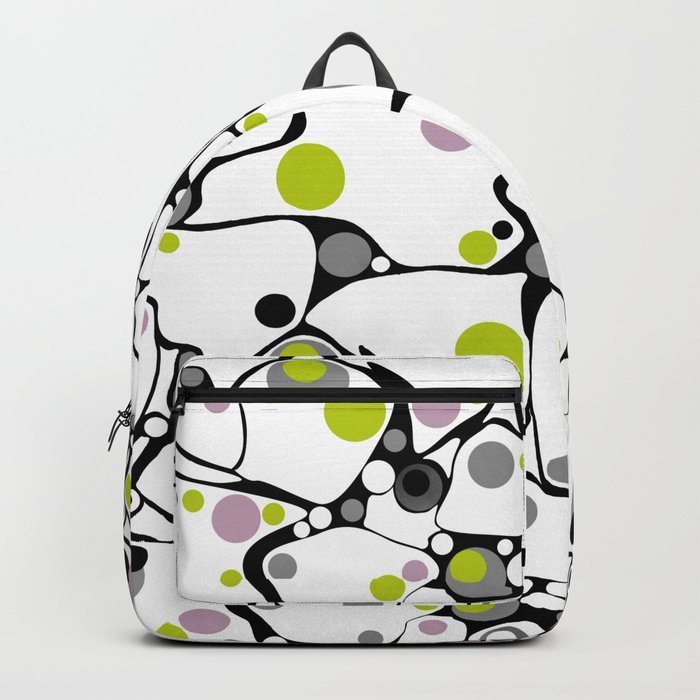 Abstract black and white pattern in green and purple polka dots . Backpack