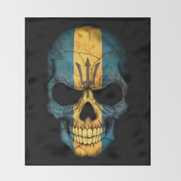 Dark Skull with Flag of Barbados Throw Blanket