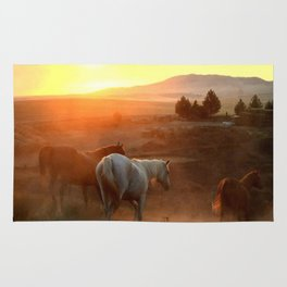 Sunset on Horses Photography Print Rug