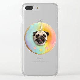 Unicorn Pug Pastel Donut Clear iPhone Case