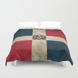 Old and Worn Distressed Vintage Flag of Dominican Republic Duvet Cover