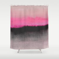 black Shower Curtains featuring Double Horizon by Georgiana Paraschiv