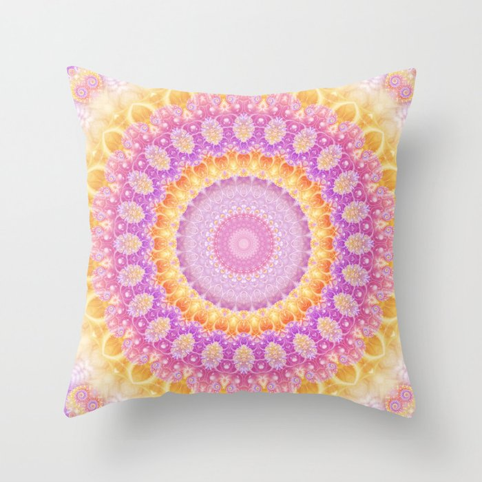 Mandala of Summer in Pink, Orange and Purple Throw Pillow