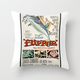 Vintage Classic Movie Posters, Flipper Throw Pillow