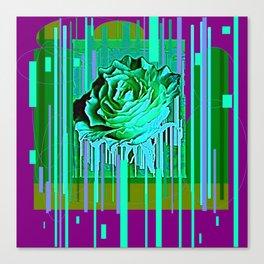 Green-Purple Fantasy Green Rose Abstract Canvas Print