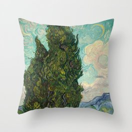 Cypresses - Van Gogh Throw Pillow