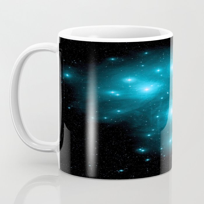 Turquoise Blue Galaxy: Pleiades Constellation Coffee Mug
