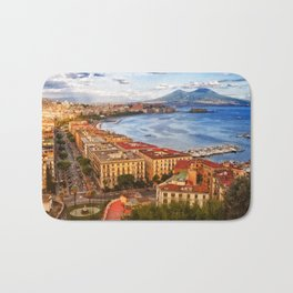 Italy, the gulf of Naples seen from the Posillipo hill Bath Mat