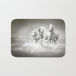 Wild White Horses Bath Mat