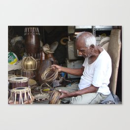 Old musical instrument repair shop - Streets of India Canvas Print