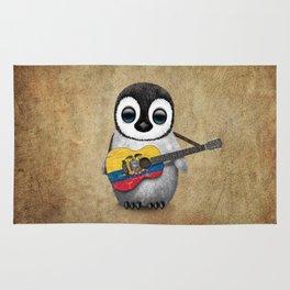 Baby Penguin Playing Ecuadorian Flag Acoustic Guitar Rug