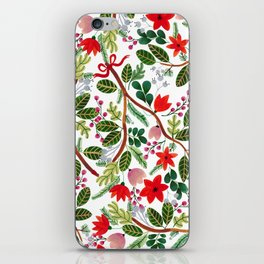 Christmas Floral Pattern iPhone Skin