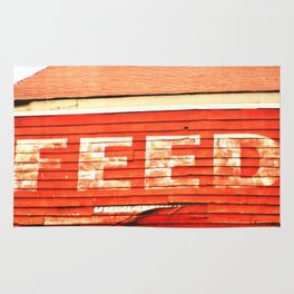 rustic feed sign Rug