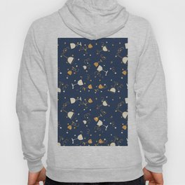 Chic navy blue faux gold glitter party time Hoody