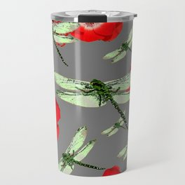 EMERALD GREEN DRAGONFLIES & RED POPPY FLOWERS GREY ART Travel Mug