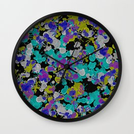Dark Splatter - Abstract, paint splatter pattern in black, cyan, yellow, white and green Wall Clock