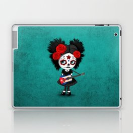 Day of the Dead Girl Playing Cuban Flag Guitar Laptop & iPad Skin
