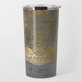 Pure elegance I- gold glitter luxury lace on black grunge background Travel Mug