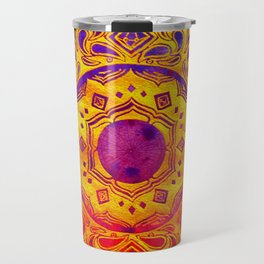 """SACRED GEOMETRY"" WATERCOLOR MANDALA (HAND PAINTED) BY ILSE QUEZADA Travel Mug"