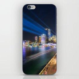 Laser Show above the Sydney Skyline iPhone Skin