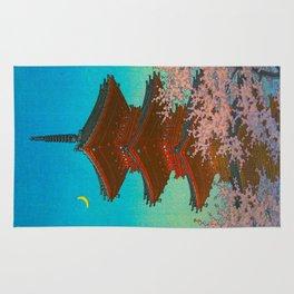 Vintage Japanese Woodblock Print Pastel Colors Blue pink Teal Shinto Shrine Cherry Blossom Tree Rug