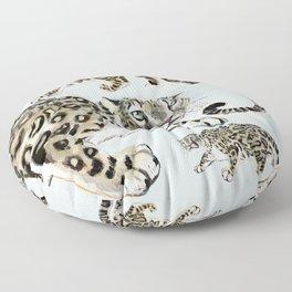 Snow leopard in ice grey Floor Pillow