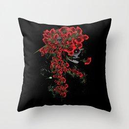 Rose skull girl Throw Pillow