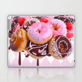CHOCOLATE & PINK  STRAWBERRY GLAZED DONUTS ART Laptop & iPad Skin