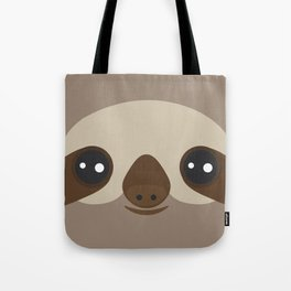 funny and cute smiling Three-toed sloth on brown background Tote Bag