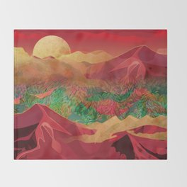 """Tropical golden sunset over fantasy pink forest"" Throw Blanket"