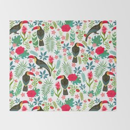 Decorative pattern with toucans, tropical flowers and leaves Throw Blanket