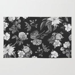 Vintage flowers on black Rug