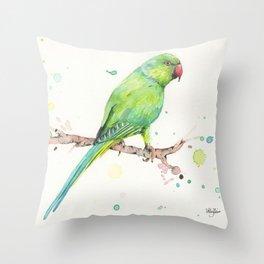Rose Ringed Parakeet Throw Pillow