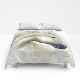 White Horse Watercolor Painting Animal Horses Comforters
